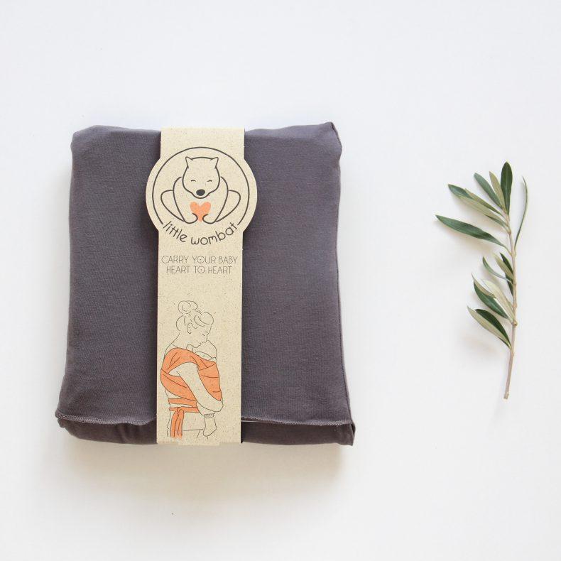 elastisches Babytragetuch in Farbe dunkelgrau, ab Geburt